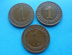 Germany, 3 - 1 Reichspfennig Coins 1924 & 1925, as shown.
