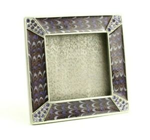 """JAY STRONGWATER Purple Swarovski Crystal Picture Photo Frame ~ 2 3/4"""" Square"""