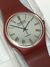 Vintage Swatch Watch GR101 1983 Roman Numerals Seven Holes Band Very Rare Red