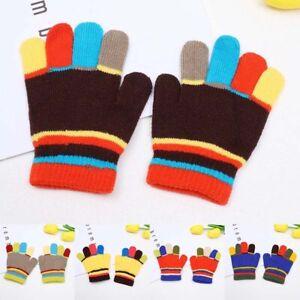Fingers Pair Children Soft Stretch Winter Girls Rainbow Magic Gloves Warm Boys