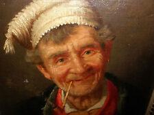 Att  to  G Lombardi Antique 19thc Italian oil painting man portrait smoking pipe