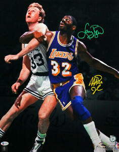 Larry Bird / Magic Johnson Autographed 16x20 FP Boxing Out Photo- Beckett W Auth