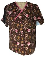 Med Wear Women's Size M Med Scrub Top Brown Pink Floral Daisies Trust Faith Hope