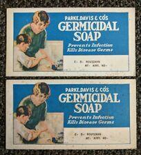 LOT Vintage Advertising Blotter Parke Davis Germicidal Medicated Soap