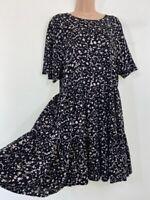 NWT NEXT black ditsy floral print short sleeve loose fit tea dress size 12 40