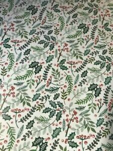 4m 8m 12m 16m GREEN LEAF WRAPPING PAPER CHRISTMAS PRESENTS BERRIES HOLLY NEW