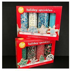 Wilton Holiday & Winter Sprinkles Sugars Nonpareils Tree Mix Jimmies Snowflakes