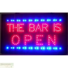 "The Bar Is Open Motion Led Sign 26"" Lights Hang Wall Window Indoor Warranty New"