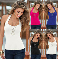 Womens Sleeveless Halter Vest Basic Tee Shirt Summer Beach Slim Tank Tops Blouse