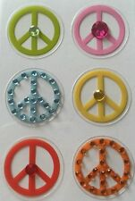 PEACE PHONE BLING Stickers(6pc)MAMBI•Goes On Phone Case•Decorated•Happy•Chill•••