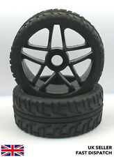 2 x 5-Spoke Black Wheels & On Road Tyres for 1/8th Buggy/Car RC *PRE GLUED*