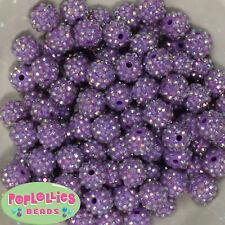 14mm Lavender Rhinestone Resin Bubblegum Beads Lot 20 pc.chunky gumball