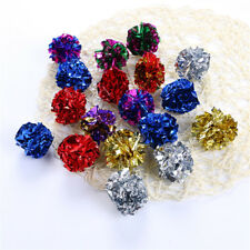 New listing 12Pcs Multicolor Mylar Crinkle Ball Pet Cat Toy Dog Sound Ring Paper Interactive