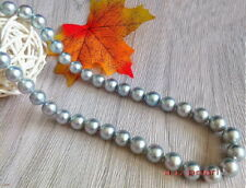 """AAAAA luster 18""""10-11mm NATURAL REAL ROUND South sea gray pearl necklace 14K"""