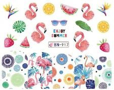 Nail Art Decals Transfers Stickers Summer Pink Flamingos Fruit (BN917)