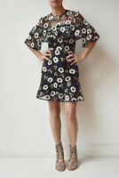 New Sample FOREVER NEW Black White Floral Embroidered Cape Dress Fits 8 Petite