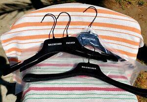 Lot of 4 NEW Balenciaga Black Felt Plastic Shirt/Jacket Hangers - 15.5 inches
