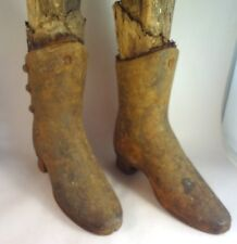 Antique CAST IRON BUTTON DOWN MANNEQUIN SHOES Child's Pair Vintage