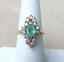 estate.50CTW diamond & emerald cocktail ring 14kyellow gold size 61/4 jewelry