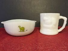 Vintage Anchor Hocking Fire-King Johnny Hart BC Grog Caveman Mug Bowl Set