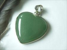 30 mm grüner großer Aventurin Herz Ketten Anhänger eingefasst i.Edelmetall