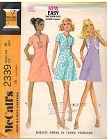 2339 UNCUT Vintage McCalls Sewing Pattern Misses High Waisted Dress Step by Step