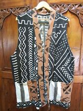 Handwoven Mud Cloth Vest in Charcoal Gray,Tan and White