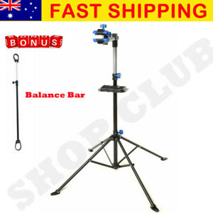 Bike Repair Work Stand With Bonus Tool Tray For Home Bicycle Mechanic Quick Rele