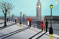 NEW ORIGINAL AISHA HAIDER Snowing in London Big Ben westminster bridge PAINTING
