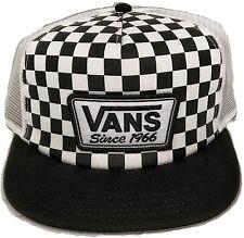 Vans Off The Wall Checkered Trucker Snapback Hat OSFA Black/White