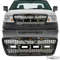 For 2004 2008 Ford F-150 F150 Raptor Style Front Upper Hood Grille With LED