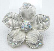 Vintage Styled Silver Tone Rhinestone Large Flower Adjustable Ring Size 9