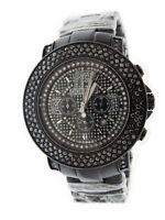 New Don & Co 5.00CT 3 rows Large Diamonds 50mm Stainless steel Watch black case