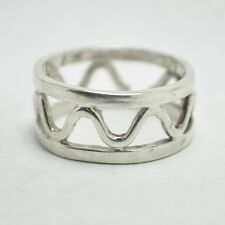 T10E09 Vintage Modernist Style Abstract Open Wave Sterling Silver Ring Size 9.75