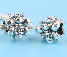 2pcs Tibetan silver Bee Charm Spacer beads fit European Bracelet Chain A#16