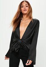 Missguided Black Satin Drape Blouse. Size UK 4.