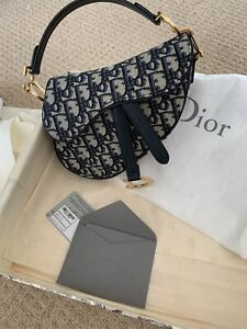 Authentic Dior mini saddle bag In Blue Navy Colour Canvas And Leather