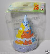 ELMO PARTY HATS 16 PCS PARTY SUPPLIES BIGBIRD COOKIE MONSTER 1ST BIRTHDAY SESAME