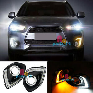 For Mitsubishi Outlander Sport ASX 13-15 White&Yellow LED Daytime Running Lights