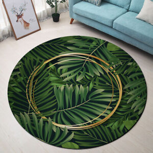 Tropical Palm Leaves Gold Circles Area Rugs Bedroom Living Room Round Floor Mat