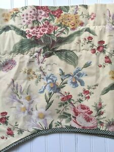 Waverly Valance Floral Lined Yellow Pink Green Blue Green Gingham Trim