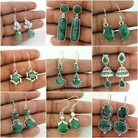 Natural EMERALD Gemstone 925 Sterling Silver Ethnic Earrings Woman GIFT Jewelry