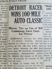 1931 Newspaper Auto Racing Shorty Cantlon Bill Cummings Altoona PA 100 mile Race