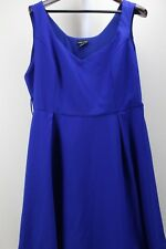 City Chic 100% Polyester Blue Partial Lined V-neck Below Knee Full Dress Size 20