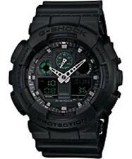 CASIO G-Shock Watch Matte Black Watch w/ Green Accents GA100MB-1A