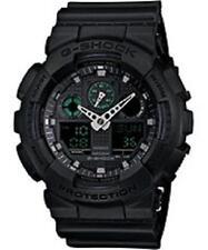 CASIO G-Shock Watch Matte Black Watch w/ Green Accents GA100MB-1A