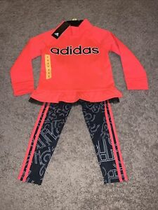 NWT Girls Size 5 ADIDAS Pink 2-Piece Set Fleece Pullover And Black Leggings