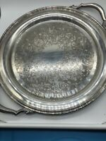 """ONEIDA COLONIAL STYLE ROUND TRAY WITH HANDLES SILVERPLATE FILIGREE 14 1/2"""""""