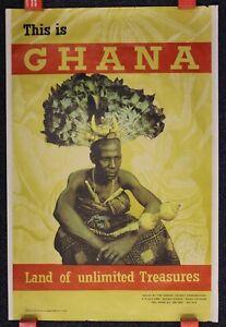 "1960s ORIGINAL VINTAGE TRAVEL POSTER ""GHANA - LAND OF UNLIMITED TREASURES"""