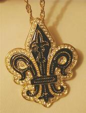 Gorgeous Goldtn Black Enamel Metal Beaded Fleur-de-Lis Brooch Pendant Necklace